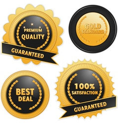Label badges in black and gold vector image