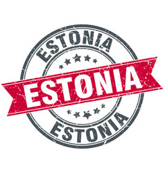 Estonia red round grunge vintage ribbon stamp vector