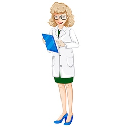 A female doctor with a chart vector