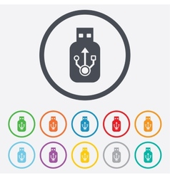 Usb sign icon usb flash drive stick symbol vector