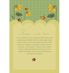 Invitation poster with sunflowers and birds vector