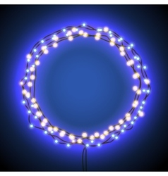 Round frame with garlands and lights vector
