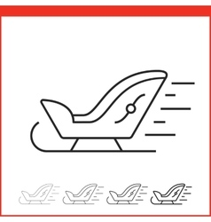 Santa sleigh icon vector