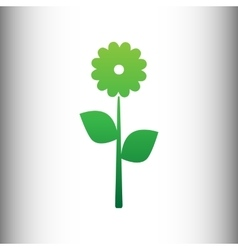 Flower sign green gradient icon vector