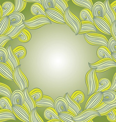Abstract hand-drawn lines and waves green leaves vector image