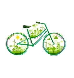 Bicycle with green city vector