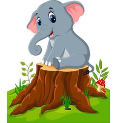 cartoon cute baby elephant on tree stump vector image