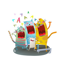 cats singing friends vector image vector image
