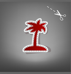 Coconut palm tree sign red icon with for vector