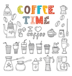 Coffee time doodle set vector image vector image