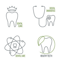 Dental care icons set vector