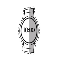 Digital smart watch time screen shadow vector