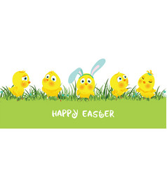 Easter border with funny cute chickens vector