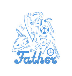 Fathers day instruments sports equipment vector