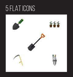 Flat icon garden set of trowel pump flowerpot vector