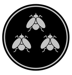 Fly insects black coin vector
