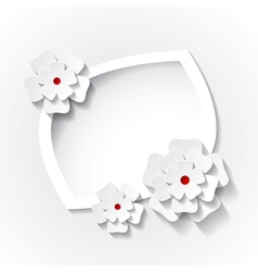 frame with paper flowers vector image vector image