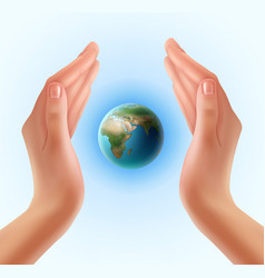 hands with planet vector image vector image