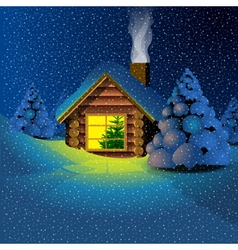 Happy new year 2017 card with a wooden house vector
