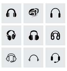headphone icon set vector image vector image