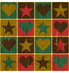 Hearts and stars seamless pattern vector image vector image