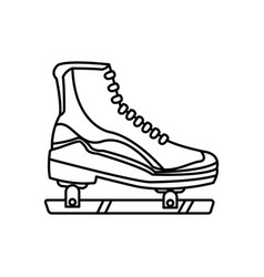 Ice roller skate sport equipment line image vector