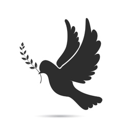 Icon of dove flying with olive twig in its beak vector