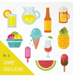 Icon set of summer food and drinks vector