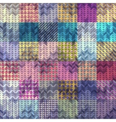 Knitted pattern on patchwork background vector