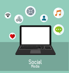 Laptop social media communication technology vector