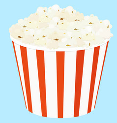 Popcorn in a red striped bucket box vector