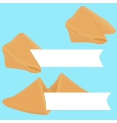 Realistic cracked fortune cookie with paper vector