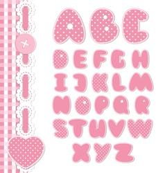 Retro scrapbook font pink color vector