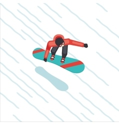 Snowboarder skating from mountain flat style vector