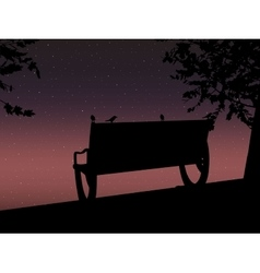 Stencil bench against the backdrop of a starry vector image