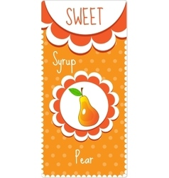 Sweet fruit labels for drinks syrup jam pear vector