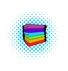 Towel stack icon comics style vector