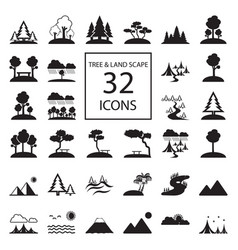 tree landscape 32 icons vector image