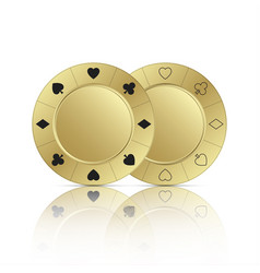two gold casino chips with reflection vector image