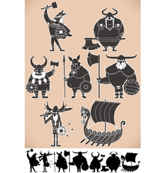 Viking Silhouettes vector image vector image