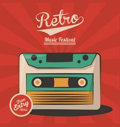 Vintage retro music festival cassette invitation vector