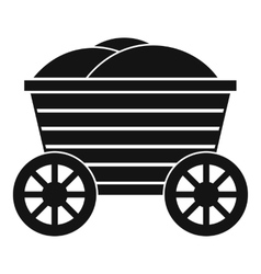 Vintage wooden cart icon simple style vector image vector image