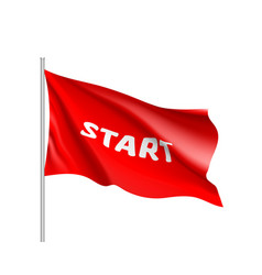 waving start flag red field vector image vector image