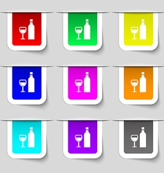 Wine icon sign set of multicolored modern labels vector