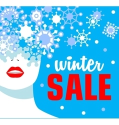 Winter sale banner fashion girl with snowflakes vector