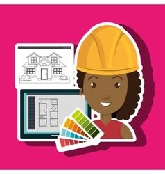 Woman architecture plans vector