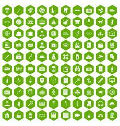 100 case icons hexagon green vector