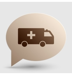 Ambulance sign  brown gradient icon vector