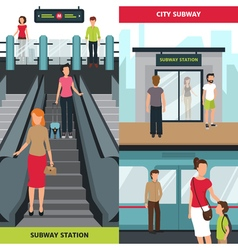 Subway people vertical banners vector