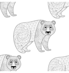 Big Panda seamless pattern Freehand ethnic sketch vector image